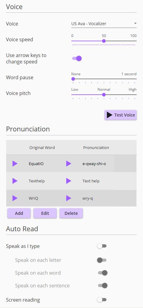 Screenshot of Speech menu, part 1