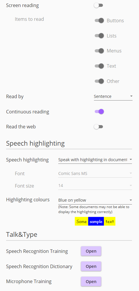 Screenshot of Speech menu, part 2