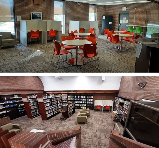 Orange chair grouped around white circular tables with study carrels in the background.  Lower image has stairs leading down to shelves filled with books and comfortable green club chairs.