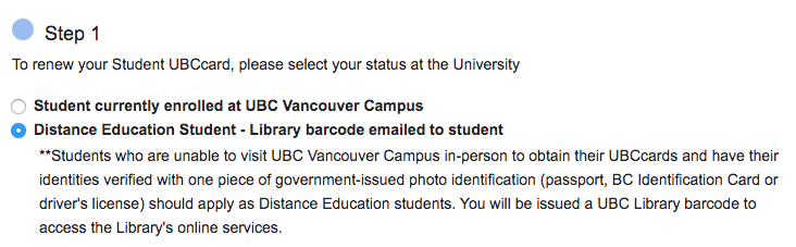 UBCcard distance option in online card form