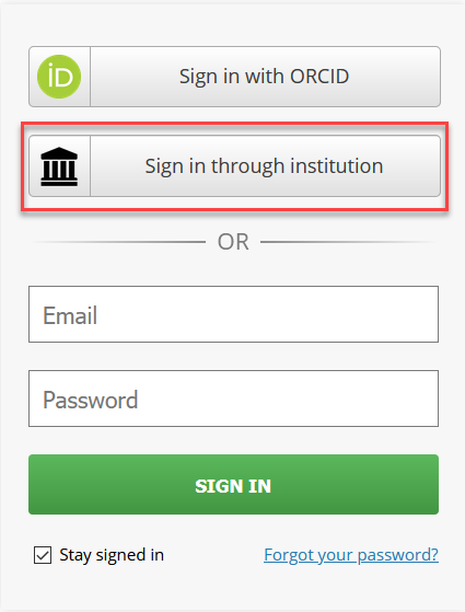 OSF Institutional Sign in Dialogue Box