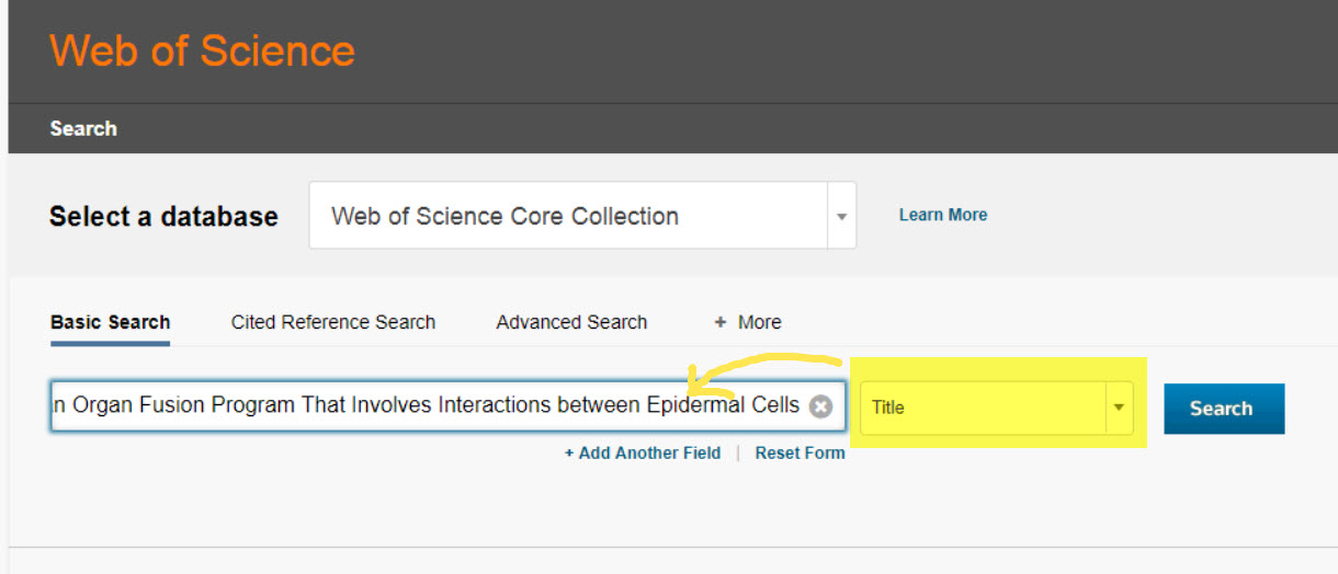 screenshot of search with title field selected in Web of Science