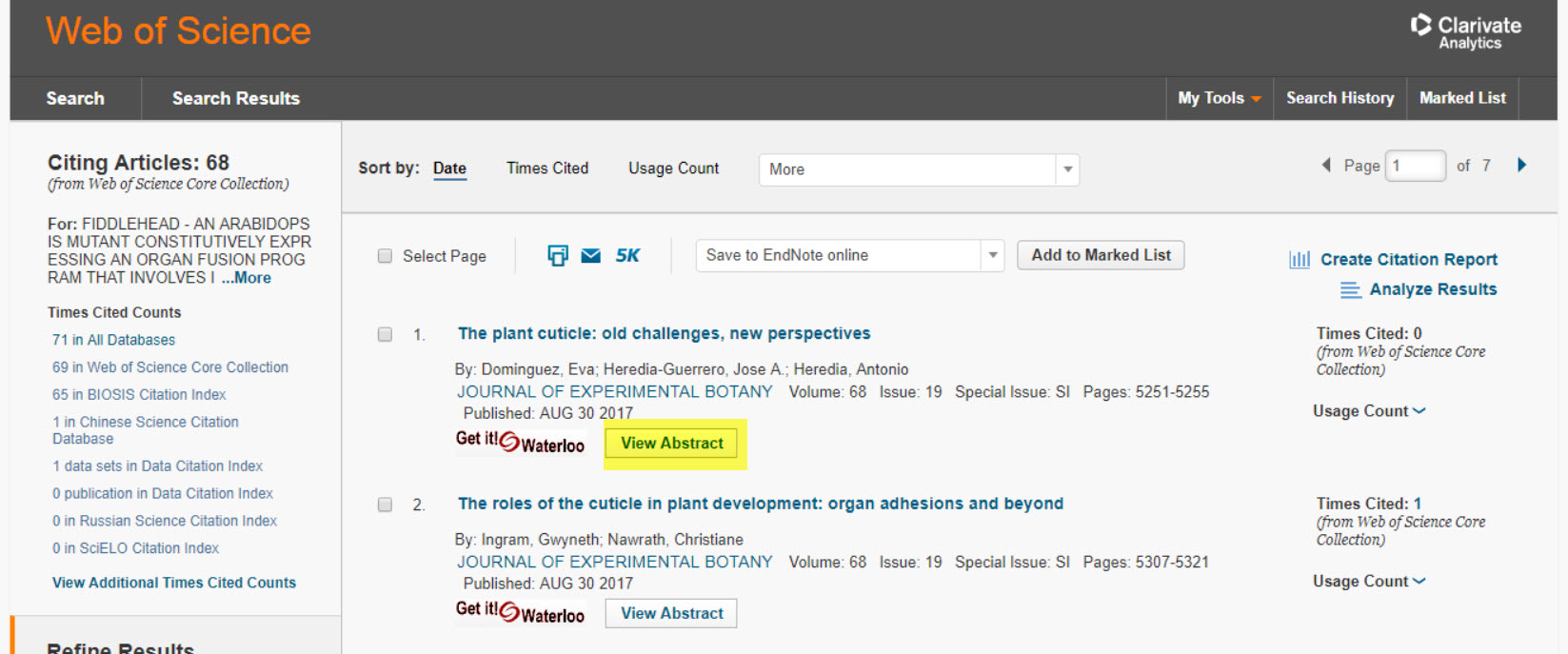screenshot of link to abstract dropdown in Web of Science