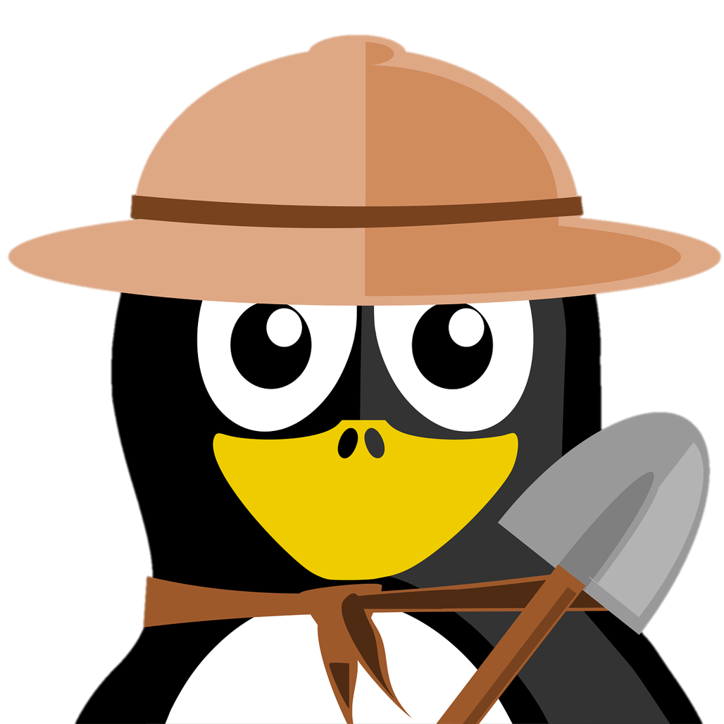 A cartoon penguin, with a hat, holding a shovel