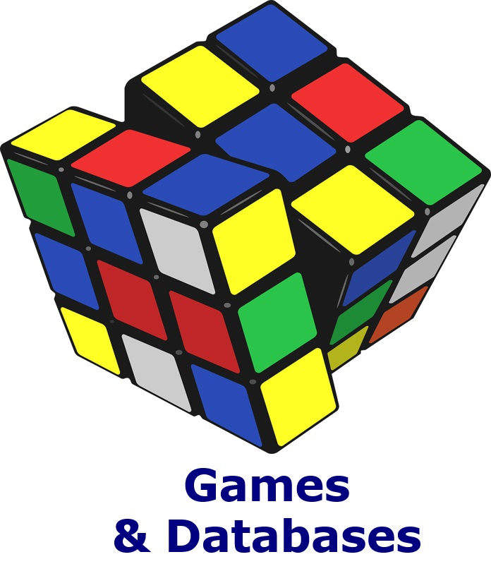 A Rubik's cube with the text: Games & Databases