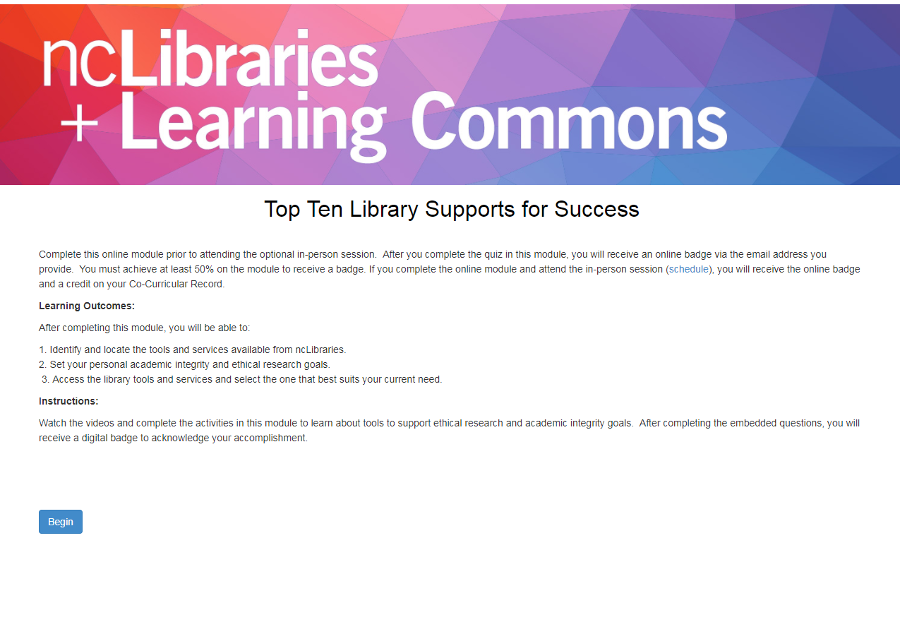 Library Support and Services Module Title Screen
