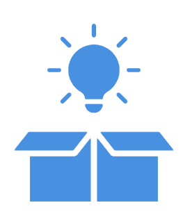 vector icon of idea lightbulb coming out of box