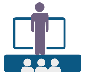 Vector graphic of teacher at front of class