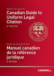 Canadian Guide To Uniform Legal Citation Book Cover