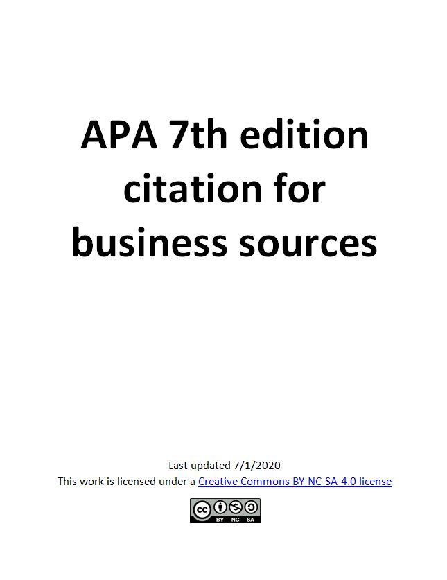 APA 7th ed. Citation for Business Sources