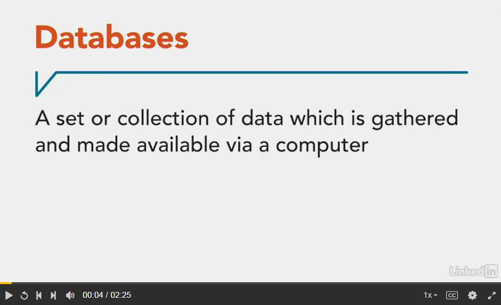 Databases video via Lynda.com