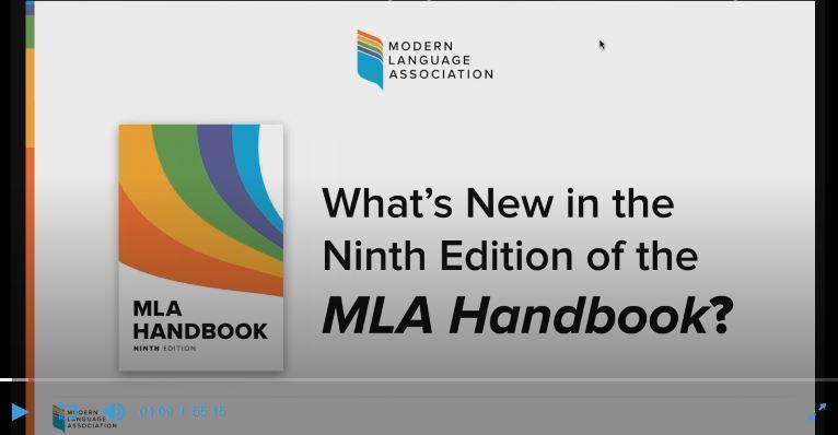 Screenshot of MLA webinar on 9th edition of MLA  Handbook