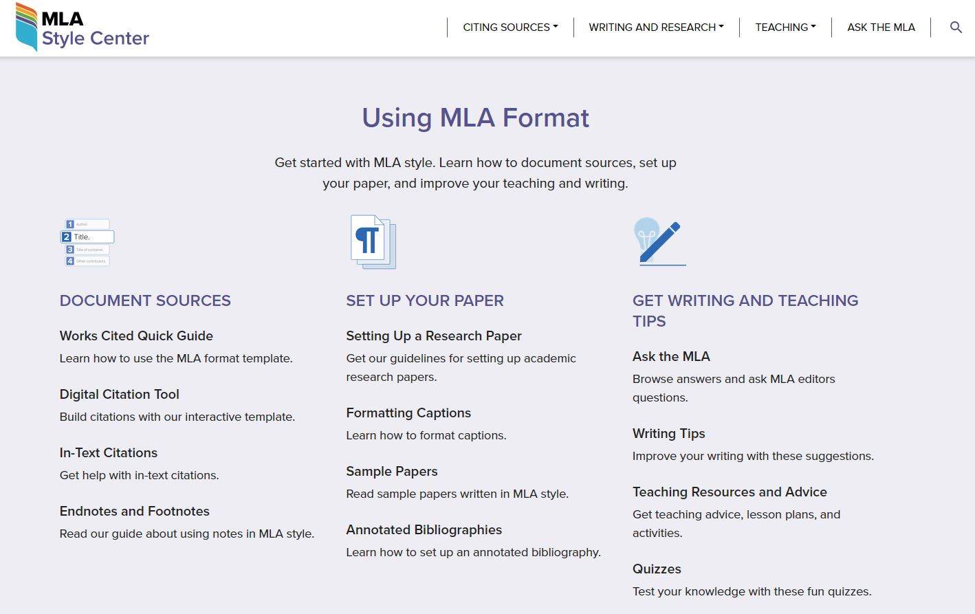 Screenshot of Using MLA Format from MLA Style Center [click image to visit]