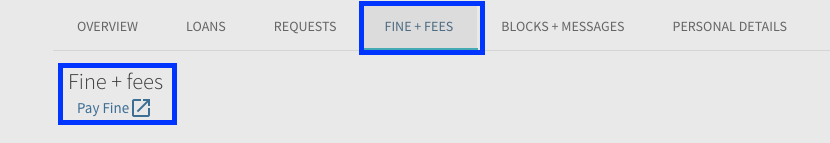 Pay Fine option shown under Fines and Fees tab within My Library Account