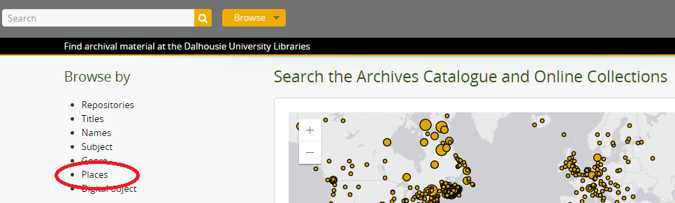 Browse Archives Catalogue by place name