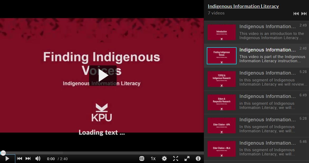 Indigenous Information Literacy Playlist screencapture