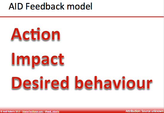 aid feedback model: action, impact, desired behaviour