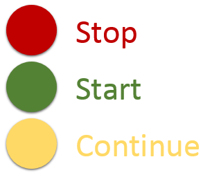stop, start, continue feedback model