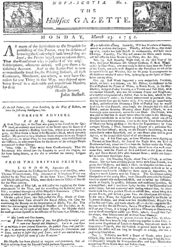 Image of front page for the Halifax Gazette, a newspaper