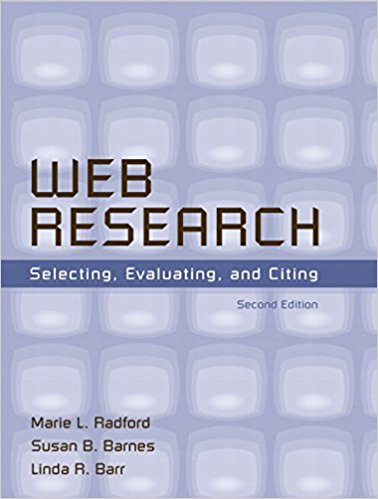 Cover art: Web research: selecting, evaluating and citing by Radford, Barnes and Barr