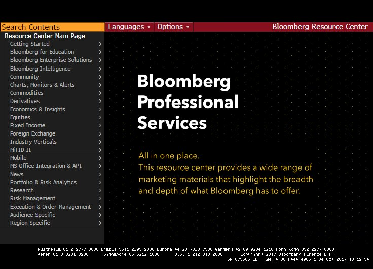 Bloomberg Professional Service main page screen shot.