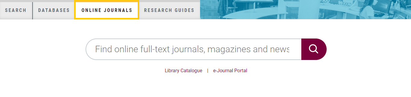 screenshot of the search box from the library homepage highlighting the online journals tab