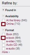 Screenshot of the refine by column highlighting online and ebook