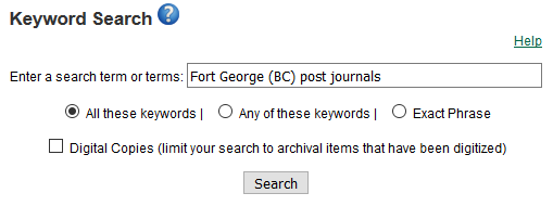 Keyword search: Fort George (BC) post journals