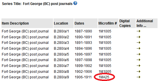 Make note of the reel number, for example: 1MA25 for Fort George (BC) post journal (1906-1911)