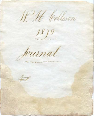 Cover of the journal of W.H. Collison from 1870