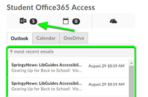 Student Office 365 Access widget.