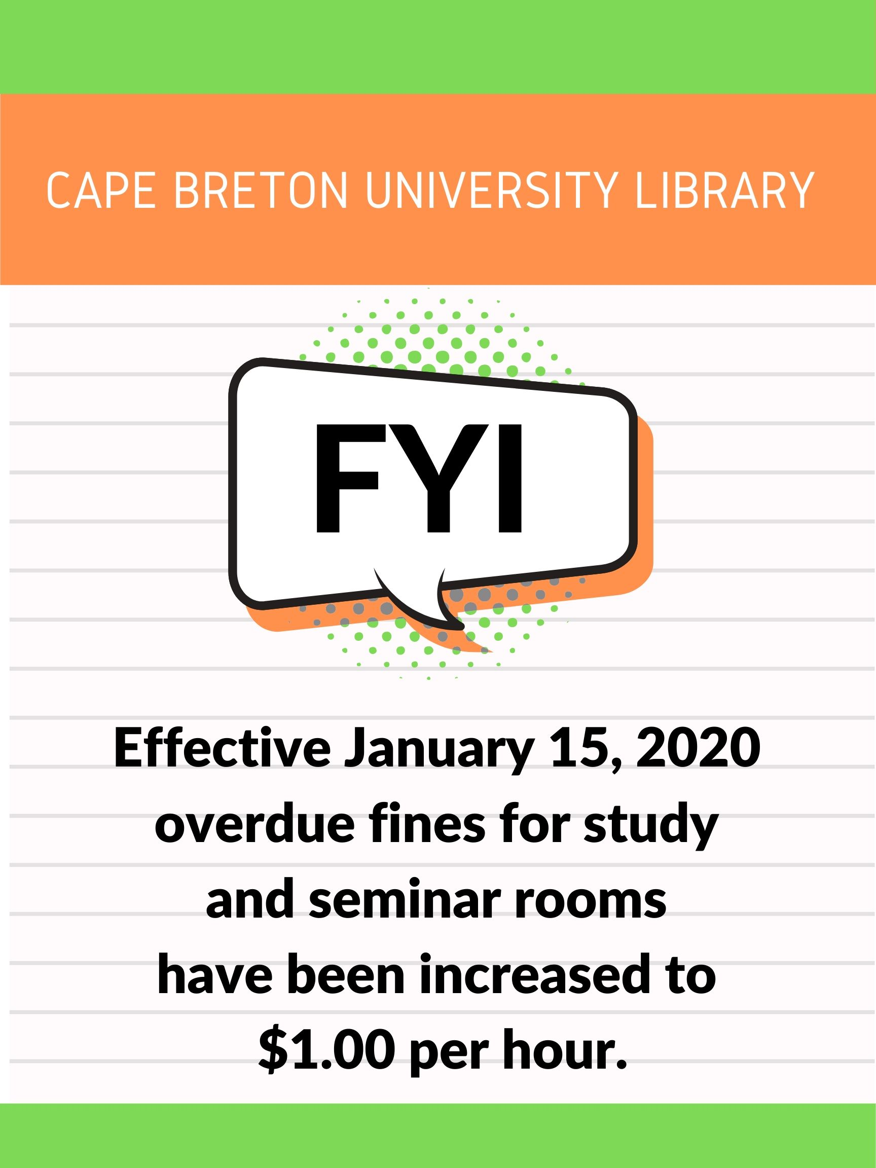 Room key late fines increase to $1.00 per hour effective January 15, 2020