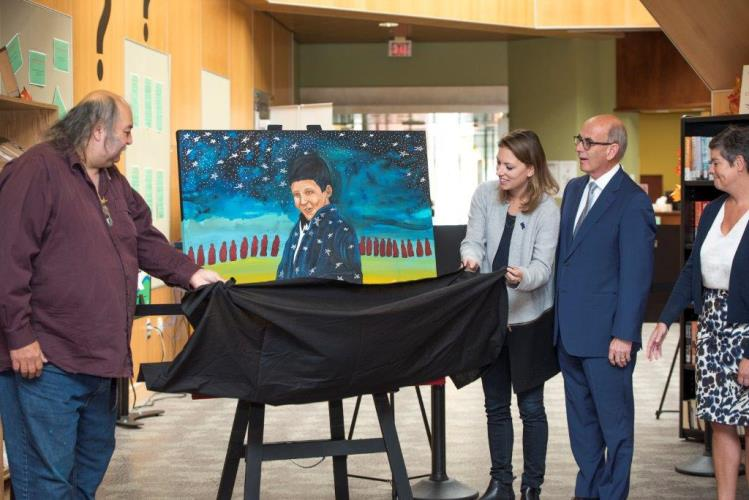 Alan Syliboy artwork unveiling for the Chanie Wenjack Fund Legacy Room.  Photo Credit Anita Clemens.