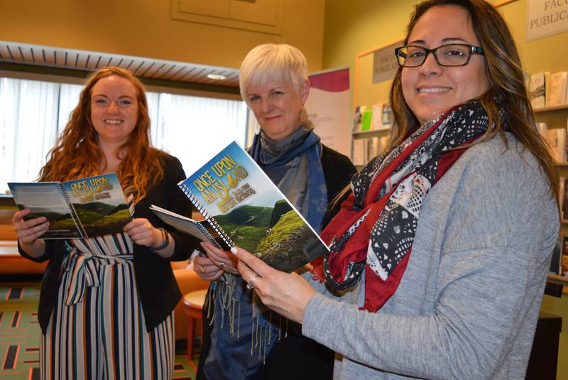 Photo from left: Kathleen MacLeod, Program Co-ordinator for the Cape Breton Local Immigration Partnership; Rosalie Gillis, from the Cape Breton Regional Library; and Perla MacLeod, one of the book's contributors, attended the book launch.  Photo Credit: Greg McNeil