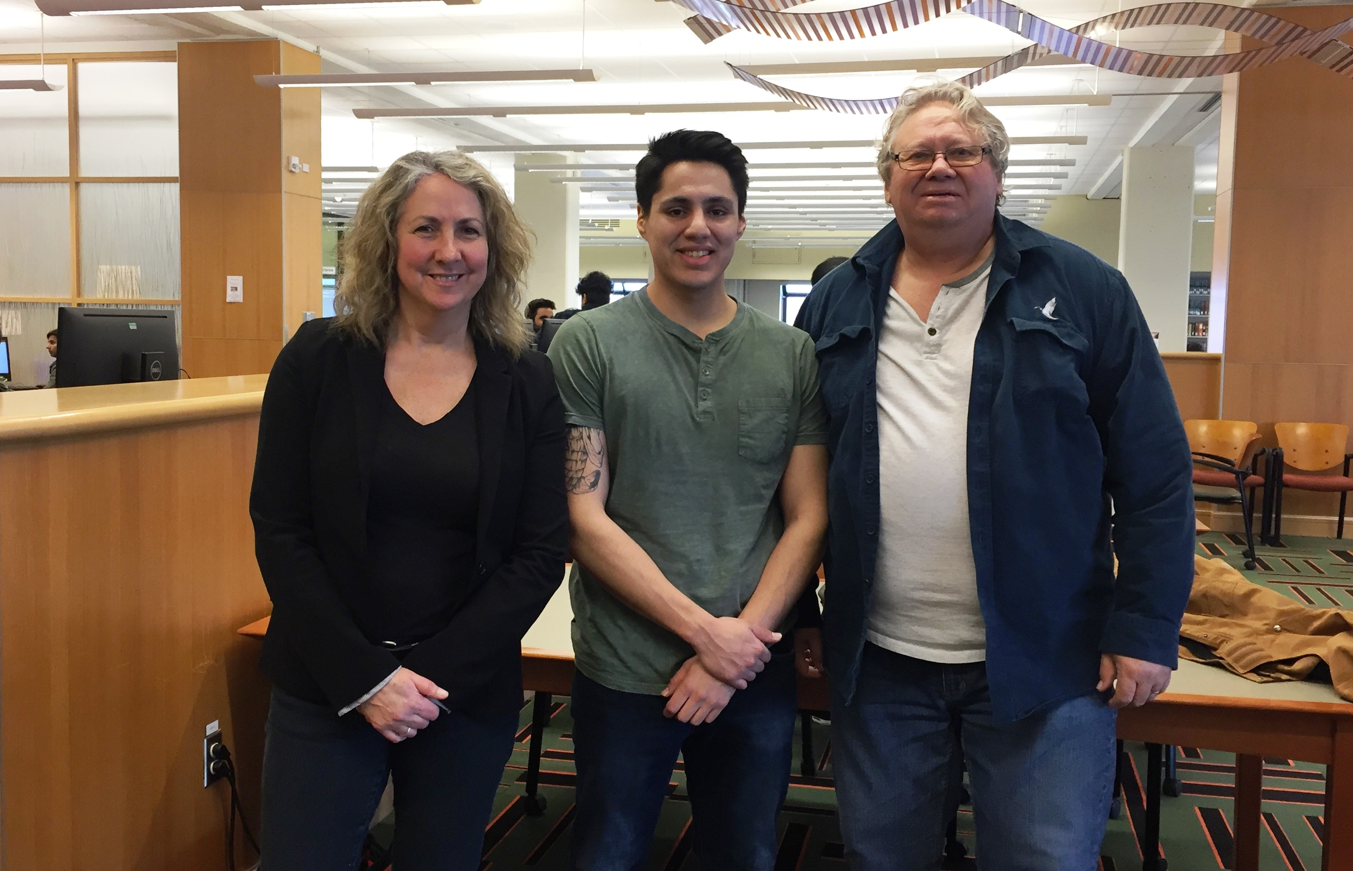 Dr. Terry Gibbs, and Garry Dennis, CBU Library Ambassador with Paul Strome at CBU Library