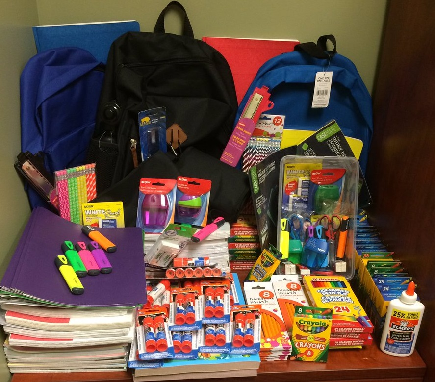 school supplies donated by CBU
