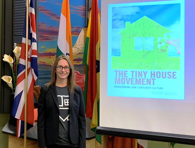 Tracey Harris at the launch of her new book, <i>The Tiny house movement: challenging our consumer culture</i>.