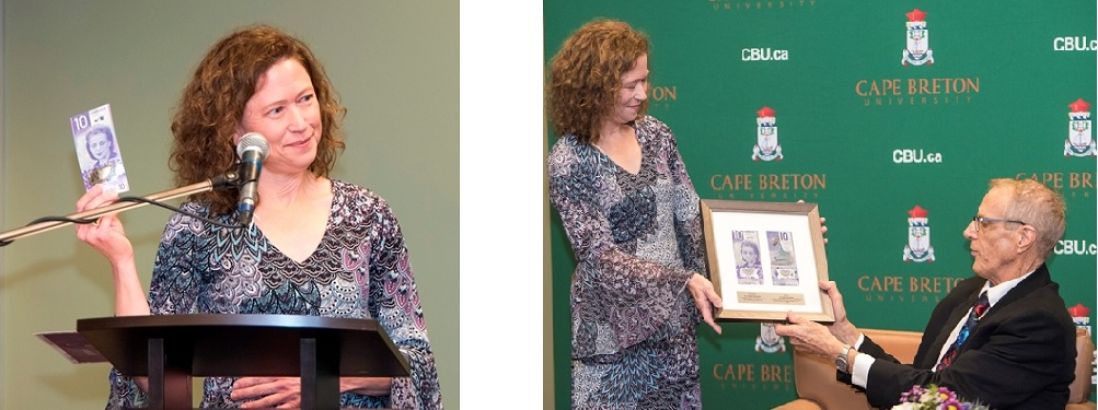 Left: Monique LeBlanc discusses aspects of the new Canadian $10 bill featuring Viola Desmond.  Right: Monique LeBlanc  presents framed $10 bills to Dr. Graham Reynolds