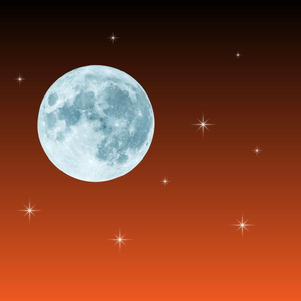 Moon and starlight