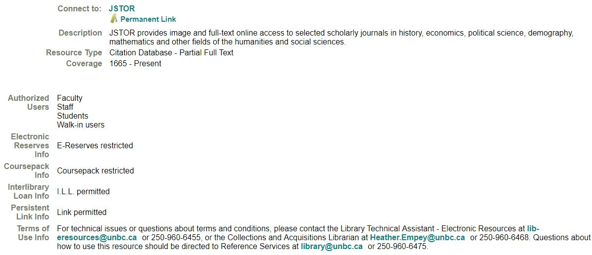 JSTOR Example - E-Reserves Restricted, Coursepack Restricted, I.L.L. Permitted, Link Permitted. Terms of Use Defined.