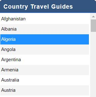 Country Travel Guides list screenshot