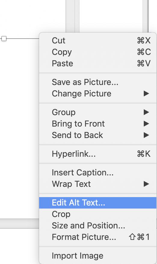 Edit Alt Text menu in MS Word on a Mac.