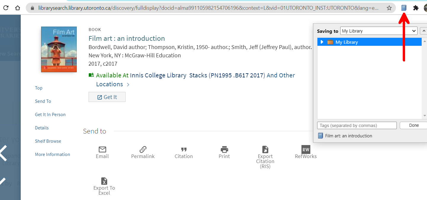 Screenshot of the LibrarySearch book record with an arrow identifying the Zotero Full Book connector icon to the right of the address bar. The open Connector window is in the top right corner of the screen, below the Connector Icon.