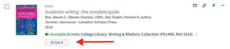 Screenshot of the LibrarySearch's Get Help button