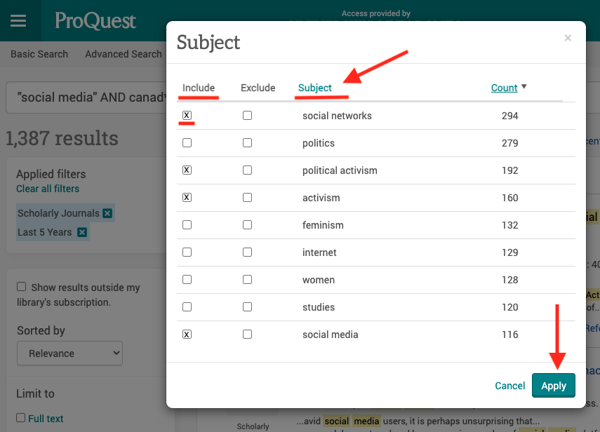 screenshot of ProQuest Subject filter pop up window, highlighting Include header, Subject header and search button