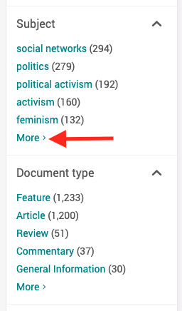 Screenshot of ProQuest Subject & Doc Type filters