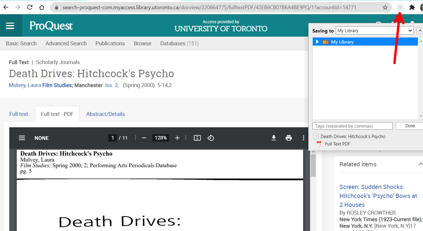 Screenshot of a scholarly journal article in ProQuest. An arrow identifies the Zotero Journal Article connector icon to the right of the address bar. The open Connector window is in the top right corner of the screen, below the Connector Icon.