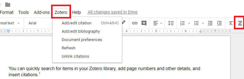 screenshot of Google Docs with Zotero heading in main menu clicked on to see all action options.