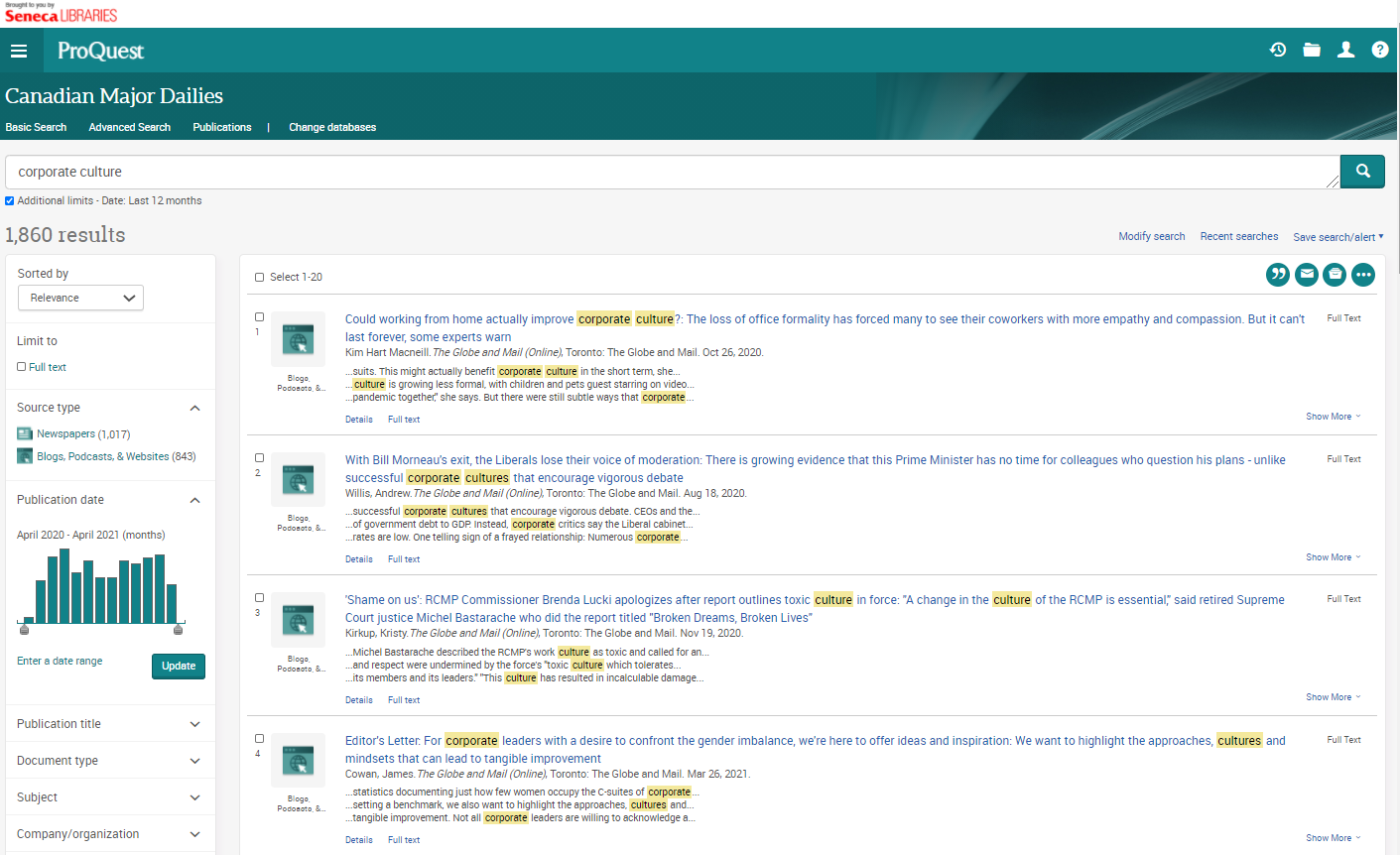 Search results in Canadian Major Dailies for keywords corporate culture, in the last 12 months