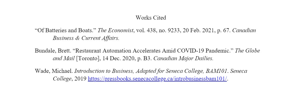 image of works cited list, showing magazine, newspaper, and ebook citations